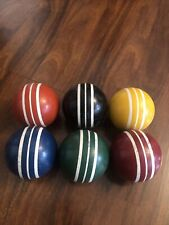 """VINTAGE SET OF 6 THREE STRIPPED SMOOTH CROQUET BALLS 2.75"""" DIAMETER REPLACEMENT"""