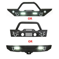 Rock Crawler Front/Rear Bumper Winch Plate LED D-Ring For 07-18 Jeep Wrangler JK