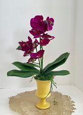 Silk Floral Arrangement with White Purple Silk Orchids, in a Yellow Art Deco Vas