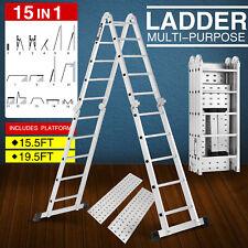 155ft195ft Folding Step Ladders Multi Purpose Aluminium Extension Heavy Duty