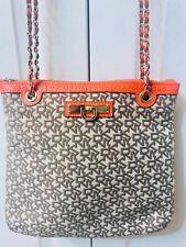 New DKNY Handbag Large Logo Leather Orange Trim Retail $349