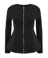 L129 Wonen's Ladies Neon Peplum Frill Blazers Slim Fit ZipUp Jacket Summer Coat