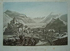 Sion Sitten Schweiz Burg von Osten echte seltene altkolorierte Aquatinta 1820