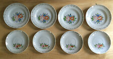 Vintage Made in Japan Tea Set 8 pieces Saucers Plates Floral Pattern with Gold