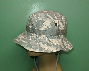 US Military Issue Army Combat Uniform ACU Camo Boonie Sun Hat Cap Size 7-1/8