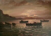 Vintage Italian Seascape at Sunset (Oil on Canvas)
