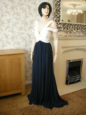 18 TALL FOREVER UNIQUE DRESS NAVY / WHITE PLUNGE NECK OFF SHOULDER RUCHED MAXI