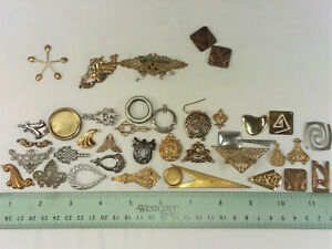 """41 BRASS STAMPINGS- """"SHAPES"""", ASSORTED- FOR JEWELRY & CRAFTING- MADE IN USA"""