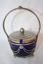"ART DECO COBALT BLUE GLASS JAM JAR WITH SILVERPLATED BASKET HOLDER 6 1/4"" X 4 1/"