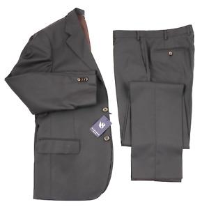 NWT SARTORE Solid Brown All Seasons Wool Modern 2Btn Suit 44 R (EU 54) Drop 6