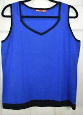 Belldini XL Royal Blue w Black trim v neck light sweater Knit Tank Top Cami