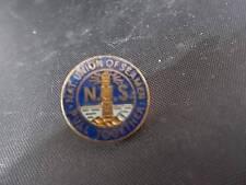 More details for vtg enamel & brass badge pin nus national union of seamen lighthouse motto mint