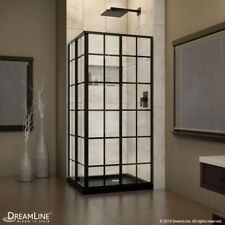 DreamLine French Corner 36 x 36 x 72 Framed Sliding Shower Enclosure Satin Black