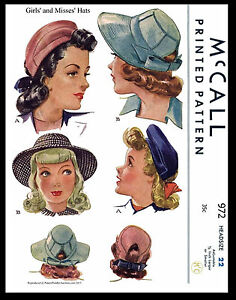 Beret Millinery GIRL Child MISSES Hat Pattern VTG 40s McCall 972 Fabric Sewing