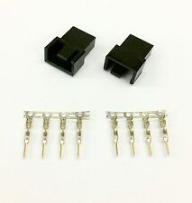 PK OF 2 - MALE 4 PIN FAN POWER CONNECTOR - BLACK INC PINS