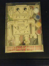 Wooden Stand Up Jigsaw Puzzle Robot with 4 Color Paint Set and Brush - NEW!!!!!