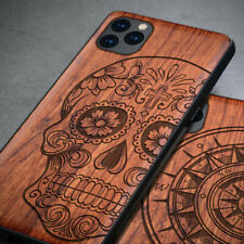For Apple iPhone 11 Pro Max Natural Wood Carved TPU Soft Case Protective Cover