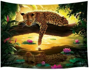 Green Tropical Forest Jungle with Jaguar Big Cats Tapestry for Bedroom Dorm