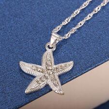 925 Silver Starfish Pendant Chain Necklace 24 inches Women Men Fashion Jewelry