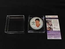 BOB PROBERT SIGNED DETROIT RED WINGS 1990/91 STATISTICS PUCK JSA AUTHENTICATED