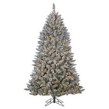 7' Snowy Flocked Pine Pre Lit Artificial Christmas Tree Clear Lights