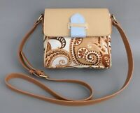SPARTINA Tan-Brown Paisley Print Linen & Leather SMALL Cross-Body-Shoulder Bag