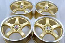 17 gold wheels Cooper Civic Fit Cobalt Miata Integra xB Vigor 4x100 4x114.3 Rims
