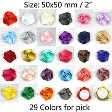 "2"" 30/50P Big Satin Ribbon Flower Rose 28 Color Appliques Sewing Craft Supplies"