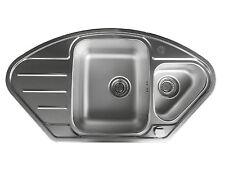 Edelstahlspüle Eckspüle LEINENSTRUKTUR Küchenspüle Einbauspüle Spüle Spülbecken