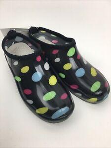 Petal & Co Garden Boots Clog Womens Size 9 Black Polka Dot Slip On New