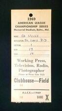 1969 ALCS Vintage Press Pass Memorial Stadium Baltimore Orioles Minnesota Twins