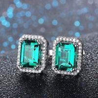 1.50CT Emerald & Diamond Halo Stud Earrings 14K White Gold Finish VVS/DE
