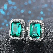 1.50CT Emerald & Diamond Halo Stud Earrings 14K White Gold Finish VVS/DE