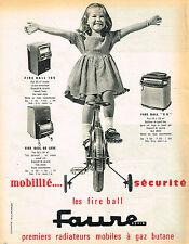 PUBLICITE ADVERTISING 035  1962  FAURE  les radiateurs mobiles à gaz butane