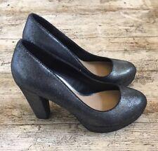 Head Over Heels by DUNE Silver Glitter Platform Court Shoes Party Heels ~Sz UK 6