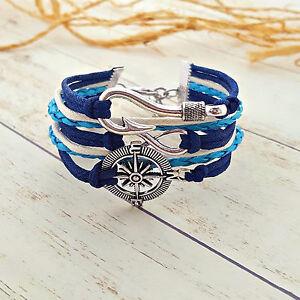 Fish Hook Infinity Compass Charm Bracelet, Nautical Bracelet, Fishing Jewelry