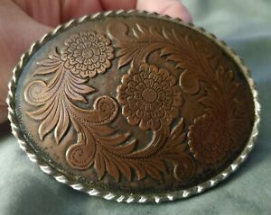 Vintage Western Americana Copper Etched Design Belt Buckle Made in W USA