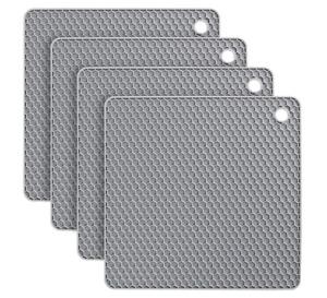 1 x Grey Non-slip Heat Resistant Silicone Kitchen Trivet mat Pan Hot Pot Holder
