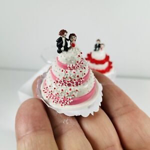 Trio Of Dollhouse Miniature Wedding Cakes 1/12 Scale