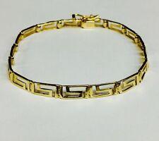 Greek Key Cut out Bracelet 14 K Yellow Gold 7.25