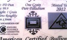 x5 ACB PD SOLID Palladium BULLION MINTED 1GRAIN BAR 999 Pure W/ Certificate ! ^
