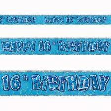 9ft Happy 16th Birthday Blue Sparkle Prismatic Party Foil Banner Decoration