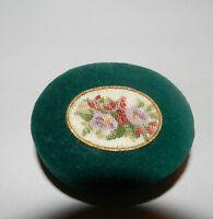 Vintage Hand Made Petit Point Flowers Christmas Green Velvet Gift Box Hungary.