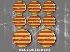 8 x Pegatinas Redondas 3D Relieve Bandera Senyera Señera Catalunya Cataluña
