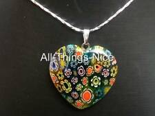 MILLEFIORI Murano Flower Glass 30mm HEART Mix Colour Pendant Necklace Jewellery