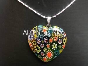 MILLEFIORI Murano Flower Glass 30mm HEART Mix Colour Pendant Necklace Jewellery