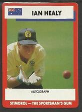 AUSTRALIA 1990 STIMOROL GUM IAN HEALY CRICKET TRADE CARD No 12