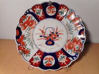 Piatto Antica Porcellana Giapponese Imari Decoro Vaso Floreale Fiore