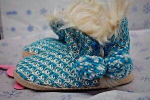 Jenni Women's Blue Aqua Gray Knit Booties Slippers Boots Medium 7-8
