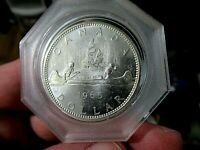 Stunning Canada 1965 Large Silver Dollar, PROOFLIKE Brilliant Mirror UNC Voyager